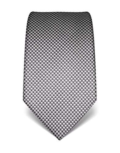 Vincenzo Boretti Herren Krawatte reine Seide Hahnentritt Muster edel Männer-Design zum Hemd mit Anzug für Business Hochzeit 8 cm schmal/breit anthrazit