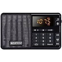 AGPTek R08 - Radio portátil, reproductor MP3 y grabador de voz, Negro