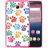 Funda Alcatel OneTouch Pop 3 5.5, WoowCase [ Alcatel OneTouch Pop 3 5.5 ] Funda Silicona Gel Flexible Huellas Perro, Carcasa Case TPU Silicona - Rosa