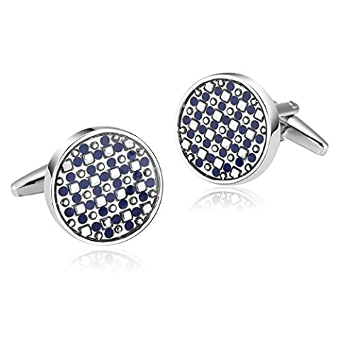 Epinki Mens Stainless Steel Silver Blue Simple Round Shape Small Dots Cufflinks for Wedding