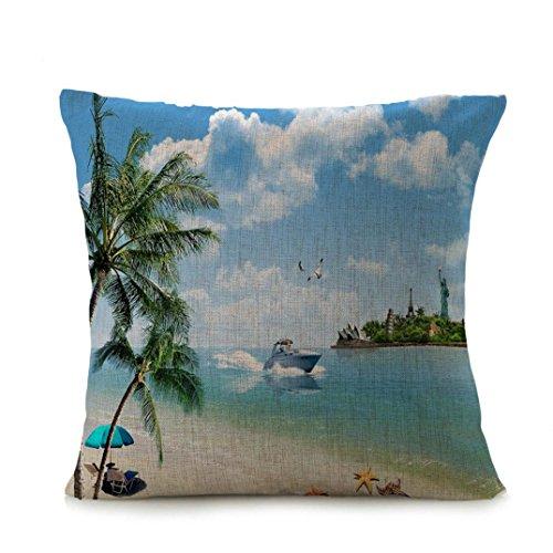Cuscino di lino copertura,kword mare spiaggia stampa toss federe cuscino custodia nascosta chiusura a zip (a)