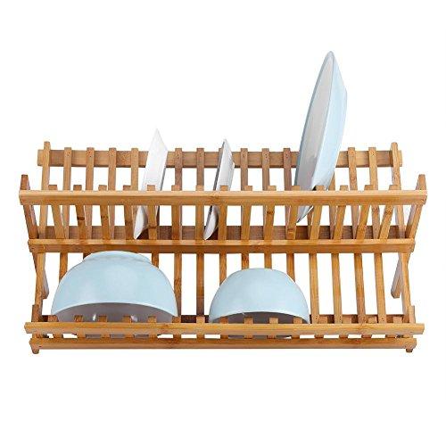 Escurreplatos de bambú plegable de dos niveles, escurreplatos de madera de bambú natural, escurreplatos de escurridor de placa de madera de bambú natural