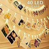 40 LEDs Clips Photos Guirlande Lumineuse Blanc Chaud, SiFar 6.6M 3 Modes Photo Chaîne Légère Avec Batterie, Pour Mémos Photo, Oeuvres, Fête, Décoration, Mariage