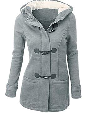 [Patrocinado]Mujer Invierno Abrigo Casual Sudadera con Capucha Chaqueta de Lana Capa Jacket Parka Pullover