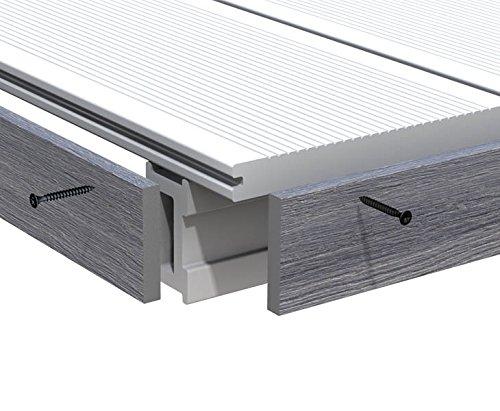 Abschlussleiste grau für WPC Terrassendielen Platinum 200cm, Vollprofil 1x6cm - Zubehör für WPC Dielen Boden WPC Terrassenböden Boden für Terasse, Kunststoffboden Kunststoffböden hochwertige Böden für Terrasse und Garten Terassendielen Terassenbelag