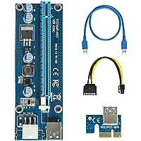 Pcie riser easyDecor PCIe 60cm USB 3.0 PCI-E Express 1x zu 16x Extender Riser Adaptador de Alimentación de Tarjeta Cable Minería PCI-E a SATA Cable de alimentación - GPU Riser Adapter (Azul)