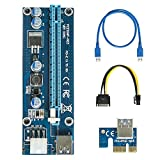 easyDecor VER 006C PCI-E Express 1X TO 16X Extender Riser Adapter Card SATA 15pin Male to 6pin Power Cable &60cm USB 3.0 (multi-layer shielded wire)
