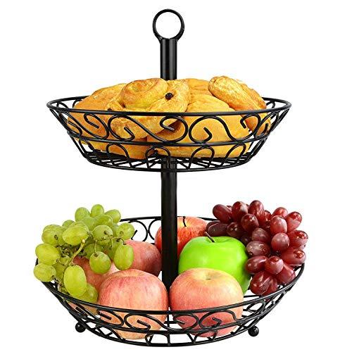SZFLWA Obstkorb, 2 Tier Obstschale halten und Display Obst Gemüse und Brot ideal für Küche Badezimmer Party Geburtstag Hochzeit Engagement Baby-Dusche-Tee-Party Draht Obstkorb Stand (schwarz)
