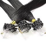 hair2heart 100 x Microring Loop Extensions aus Echthaar, 40cm, 0,5g Strähnen, glatt - Farbe 1 Schwarz