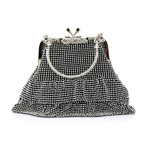 MMYOMI Damen Silber Sparkly Diamante Crystal Satin Handtasche Abend Hochzeit Handtasche Handtasche Tasche (Schwarz) - Satin Damen Abend Tasche
