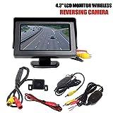 """Leslaur Telecamera di parcheggio retromarcia IR Senza Fili + Kit Display Posteriore Pieghevole per Monitor LCD da 4,3"""""""
