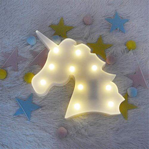 QiXian Lumière de Nuit Licorne Tête Tir Décoratif Lumières Accessoires Table Lampe Mignon Enfants Chambre Style Styling LED Night Light Rêve Tenture Murale