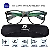 David Smith® BlueCut UV420 PROTECTED Zero Power Wayfarer Spectacles Frame with Blue Ray Cut Block Anti glare Glasses for Eye Protection from Computer Tablet Laptop Mobile Eyeglasses