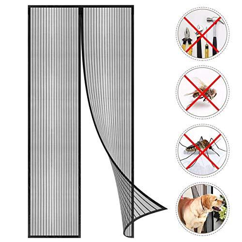 Coedou Magnet Fliegengitter Tür 90 x 220 cm, Der Magnetvorhang ist Ideal für die Balkontür, Kellertür Und Terrassentür, Kinderleichte Klebemontage Ohne Bohren