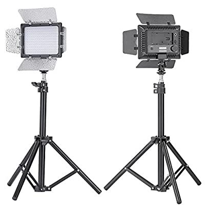 Bestlight W160 LED Photo Studio Barndoor Light Continuous Lighting Panel Kit LED Video Light Kit for Sony, Canon, Panasonic, Hitachi, Samsung& Similar DSLR Cameras - Including (2) W160 LED barndoor video light with 2 color Honeycomb Gel, (2)Mini Aluminum