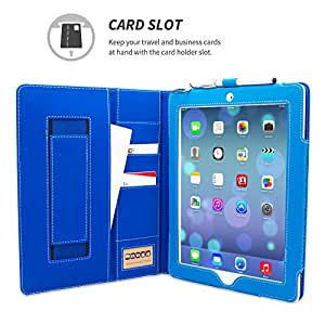 Snugg iPad 3 & 4 Card Slot 'Executive' Leather Case in Electric Blue - Flip Stand Cover with Card Slots, Pocket, Elastic Hand Strap and Premium Nubuck Fibre Interior - Automatically Wakes and Puts the Apple iPad 3 & 4 to Sleep