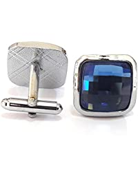 TiedRibbons® Blue Stone Studded Cufflinks For Men | Shirt Cufflinks For Men | Cufflinks Gift Set | Cufflinks Gift...