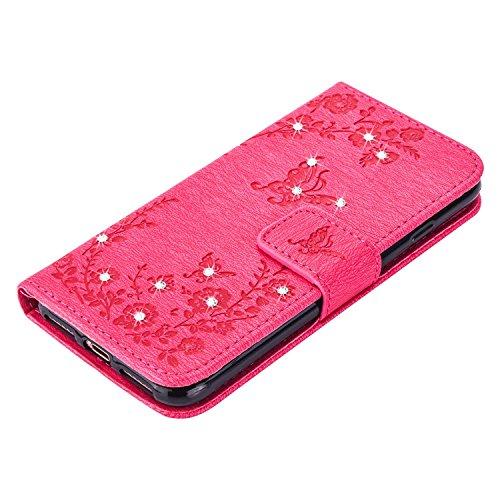 "MOONCASE iPhone 7 Hülle, Premium Leder Schutzhülle [Blumen Schmetterling Serie] PU Leder Flip Handyhülle Tasche Case für iPhone 7 (4.7"") Grün HotRosa"