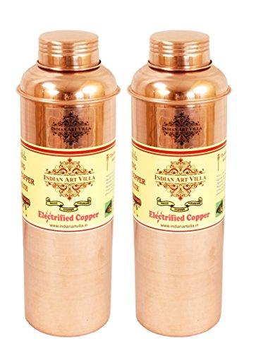 indianartvilla Kupfer Set von 2bisleri Design Wasser Flasche |800ML each| Aufbewahrung Wasser |used als Drinkware Gute Gesundheit Benefit Yoga Ayurveda