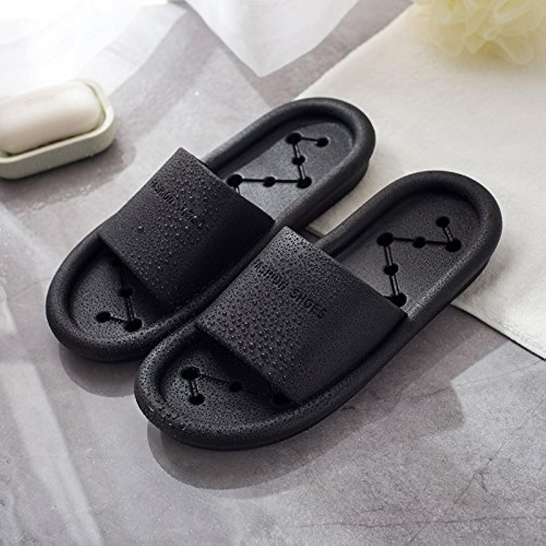 Fankou Las zapatillas de baño femenino Verano nacional anti-slip retrete interior WC ducha expuesto cool negro...