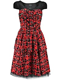 H&R London Robe ANCHORS, BOWS & STARS LONG DRESS rouge