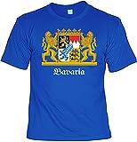 T-Shirt - Bavaria - Bedrucktes Motivshirt mit Wappen als Tolles Geschenk für Bayern Süddeutschland und Freistaat Fan, Größe:L
