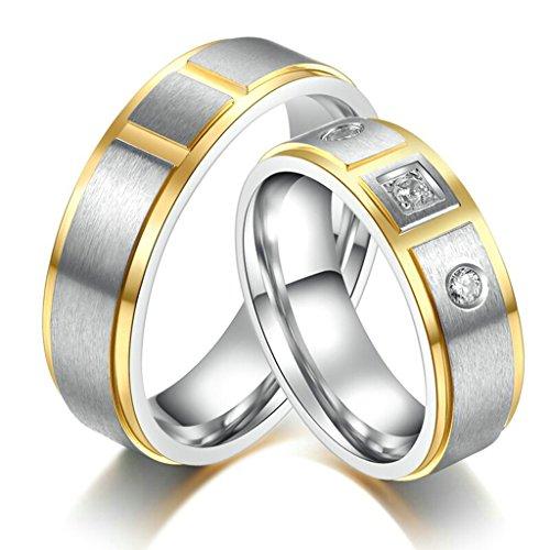 Bishilin acciaio inossidabile argento e oro bicolore matrimonio coppia anello di fidanzamento con incisione coppia set(prezzo per 1pc) misura 15