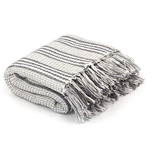 vidaXL Überwurf Baumwolle Streifen 220x250cm Grau Weiß Tagesdecke Bettüberwurf