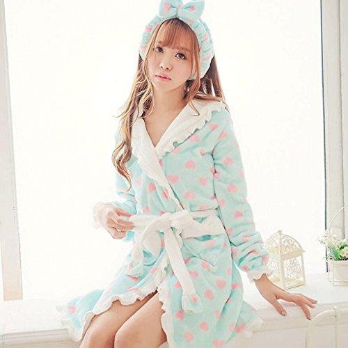 ZLR Autumn Season Lady Pigiama Cute Home Abbigliamento Pigiama Lady Ispessimento Accappatoio ( Colore : Blu ) Blu