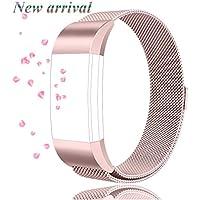 Tobfit Armband (2 Größen) für Fitbit Charge 2 Ersatz Milanese Edelstahl Magnetverschluss Armband für Fitbit Charge 2