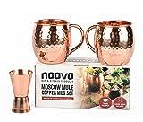 Naava Moscow Mule Becher-Set - 2 Kupfer-Becher Geschenk-Set für Damen & Herren - Perfekt für Partys & Drinks an der Bar + Gratis Shot Jigger