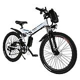 AMDirect Bicicletta da Montagna Elettrica Pieghevole con Ruote di 26 Pollici Batteria Litio di Grande Capacità 36V 250W Sospensione Completa Premium e Cambio Shimano (Bianco)