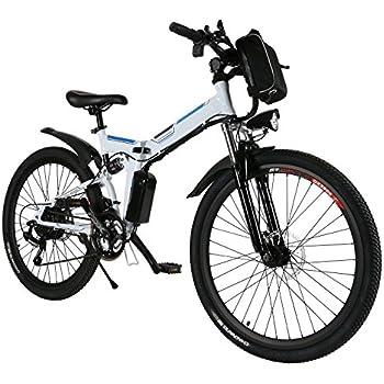 AMDirect Bicicleta de Montaña Eléctrica Bici Plegable Ebike con Rueda de 26 Pulgadas Batería de Litio