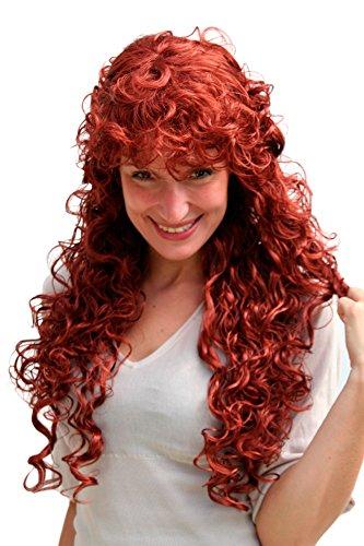Longue perruque rousse, bouclée 9229-350 env. 65 cm