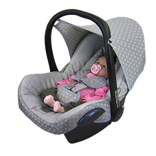 BAMBINIWELT Ersatzbezug für Maxi-Cosi CabrioFix 6-tlg, Bezug für Babyschale, Komplett-Set STERNE HELLGRAU *NEU*