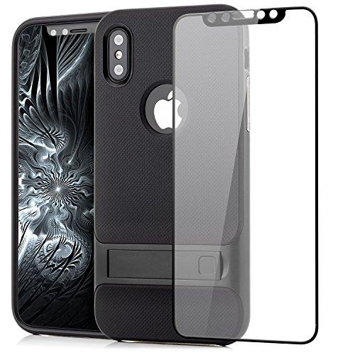 Custodia iPhone X Cover + Vetro Temperato 3D, Silicone Slim Case [Neo Hybrid] Cuscino daria Tecnologia Soft TPU protezione Back Protector Hard Cover e Bumper [Antiurto] con Supporto Stand Argento Nero