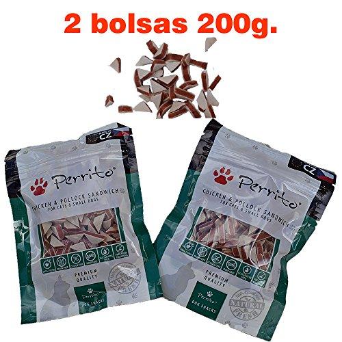 Perrito Sándwich triangulo, 2 Snacks Premio para Perros medianos y Gatos, 200g. Educativo Pollo