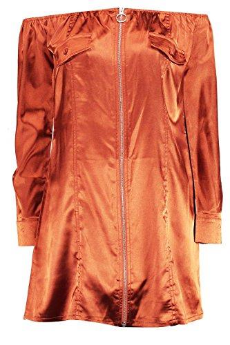 Cuivre Femmes Savannah Robe Droite Satinée À Épaules Dénudées Cuivre