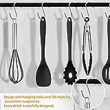 CRMICL 20 Stück Silikon-Küchengeräte, WisFox Kochgeschirr Stücke Hitzebeständiges Silikon-Geschirr Küchenhelfer Set, Antihaft-Küchenbackwerkzeuge 10 Sätze + 10 S-Haken -Schwarz - 3