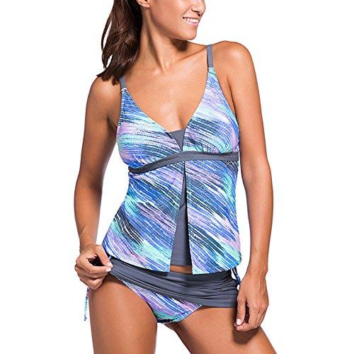 Damen Summer Tankinis Mehrfarben Skort Bottom Set Zweiteilig Bademode Swimsuit - Hohe Qualität S M L XL XXL XXXL Blau