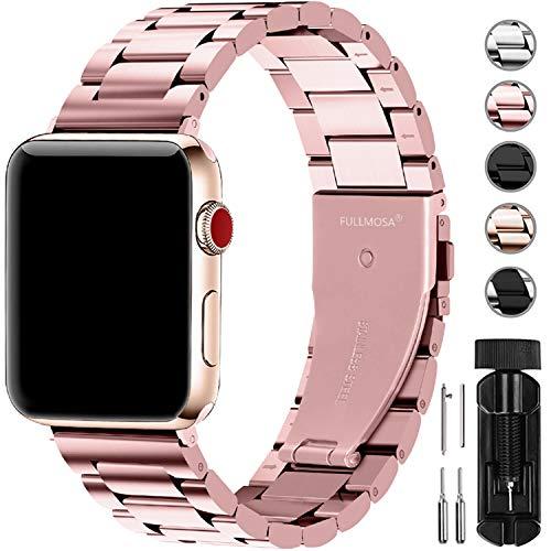 Fullmosa Für Apple Watch Armband 38mm, Rostfreier Edelstahl Watch Ersatzband für iWatch/Apple Watch Serie 5/4/3/2/1, 38mm Roségold