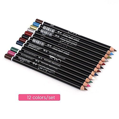 12 Couleur Multi-Fonction Crayon À Sourcils Crayon À Lèvres Eyeliner Set Crayon À Lèvres Rouge À Lèvres avec Couvercle Ensemble
