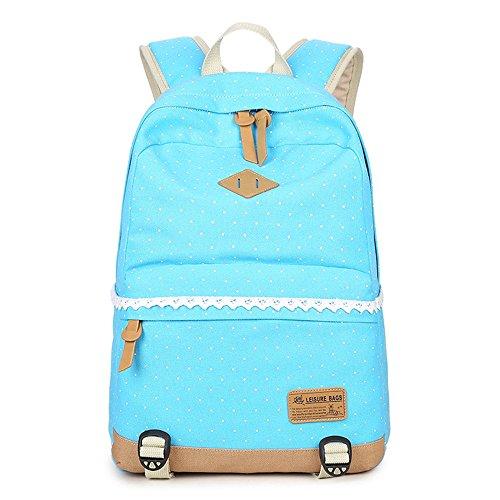 Wave-Punkt Lässige Leinwand Rucksack Reisetasche Laptop Tasche Schultasche Leichte Rucksäcke für Teen Junge Mädchen Sky Blau