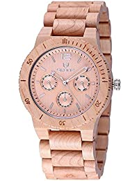 SKONE Wood Mens Watch with Nail Scale and 3eye Function Dials Quartz (Beige Maple)