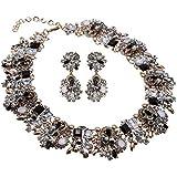 Jerollin Collana da Donna Girocollo con Orecchini con Diamante Luminoso Regalo Matrimonio Festa Natale