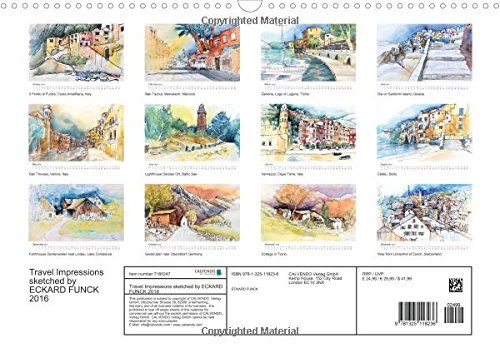 Travel Impressions - sketched by ECKARD FUNCK 2016 (Wall Calendar 2016 DIN A3 Landscape): Travel sketches during my painting courses (Monthly calendar, 14 pages) (Calvendo Art)
