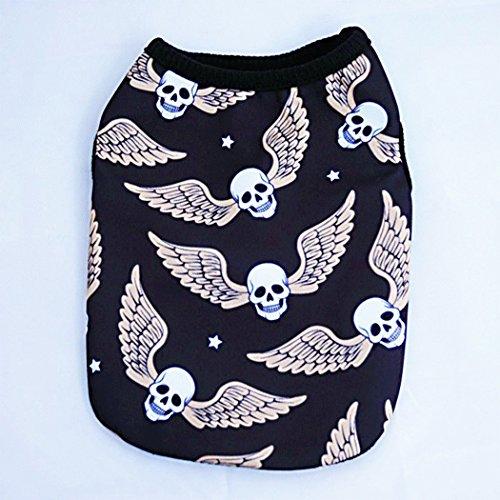 ento halloween kleine Hund Katze Haustier Kleidung Schädel Geist mit Flügel Weste T-Shirt Halloween-Bekleidung ()