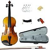 Esound 1/8 ML0013A Massivholz Matte Violine mit Hartschalenkoffer, Schulterstütze, Bogen, Kolophonium und Zusätzliche Saiten