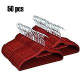 Homdox 50-er Set Beflockte Kleiderbügel Anzugbügel Garderobenbügel Mantel Hosen Bügel Aufhänger mit rutschfester Oberfläche superdünn 0,5 cm dick Weinrot