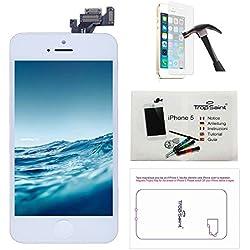 trop saint® Écran pour iPhone 5 Blanc - Kit de Réparation LCD Complet avec Notice, Outils, Tapis de Repérage Magnetique et Verre Trempé